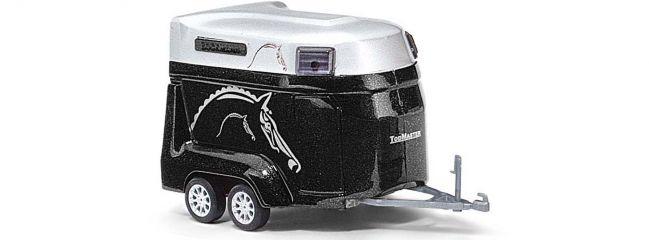 ausverkauft | BUSCH 44944 Pferdetransporter schwarz | Anhängermodell 1:87
