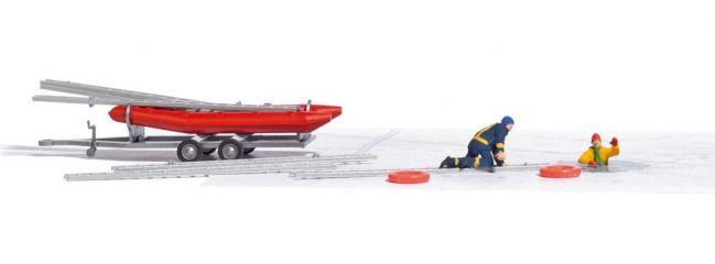 BUSCH 7855 Action-Set Eisrettung Figuren mit Zubehör Fertigmodell Spur H0