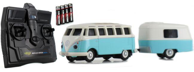 CARSON 500504122 VW T1 Bus Samba + Anhänger 2.4GHz | RC Auto 1:87 Spur H0