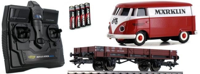 CARSON 500504132 Niederbordwagen + VW T1 Bus märklin 2.4GHz | RC Auto 1:87