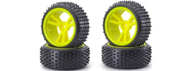 CARSON 500900074 Räder-Set Buggy neongelb | 4 Stück | für RC Offroad 1:10