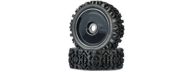 CARSON 500900147 Räder-Set Big Spike schwarz   2 Stück   für RC Offroad Buggys 1:8
