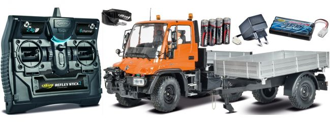 CARSON 500907213 Unimog U300 + Anhänger 2.4GHz | RC Unimog Komplett-RTR 1:12