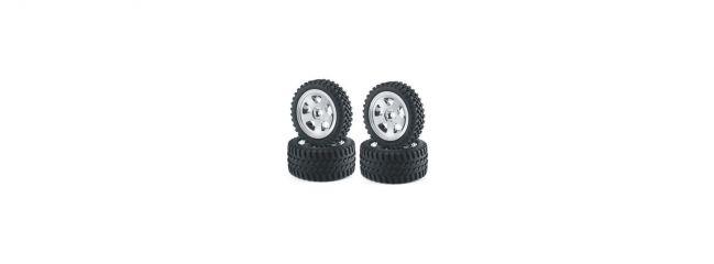 CARSON 500900028 All Terrain Reifen auf Felge verklebt | verchromt | 4 Stück