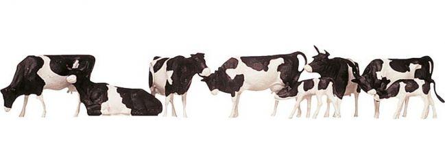 FALLER 154003 Kühe schwarz gefleckt | 8 Miniaturfiguren Spur H0