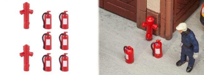 FALLER 180950 Feuerlöscher 6 Stück und 2 Hydranten Fertigmodelle Zubehör 1:87