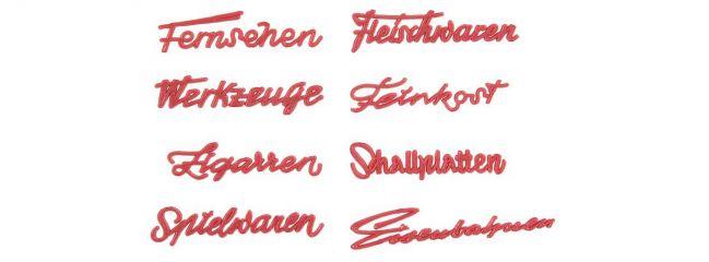 FALLER 180962 Ladenschriftzüge der 50er Jahre 8 Stück Fertigmodell 1:87