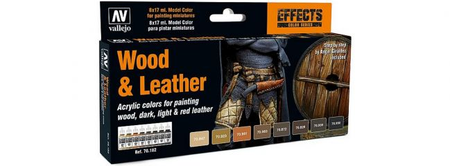 VALLEJO 770182 Farbset Holz und Leder | 8x 17 ml