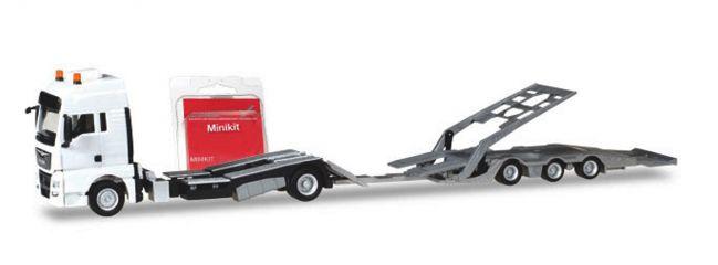 herpa 013529 MiniKit MAN TGX XXL LKW-Transporthängerzug  weiss Bausatz LKW-Modell 1:87