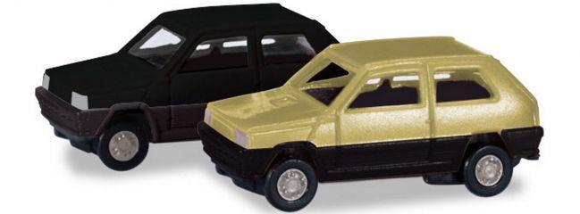 herpa 065962-002 2x Fiat Panda grünbeige schwarz   Automodell 1:160