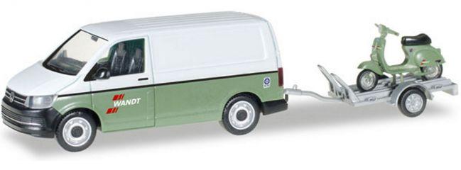 herpa 092760 VW T6 Kasten mit Anhänger und Vespa Wandt | Automodell 1:87