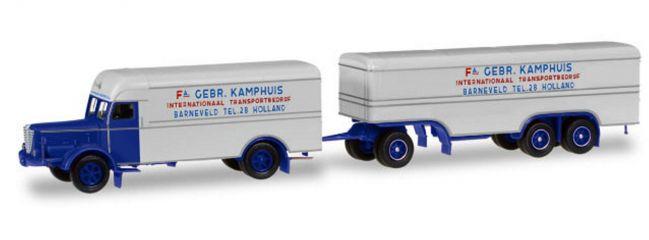 herpa 306638 Büssing 8000 Koffer-Hängerzug Gebrüder Kamphuis LKW-Modell 1:87