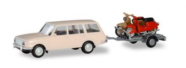 herpa 420419 Wartburg 353 1966 Tourist mit Anhänger und zwei Simsons Automodell Spur H0
