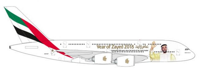 herpa 531535 Airbus A380 Emirates  Year of Zayed Flugzeugmodell 1:500