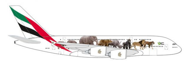 herpa 531764 Airbus A380 Emirates United for Wildlife Flugzeugmodell 1:500
