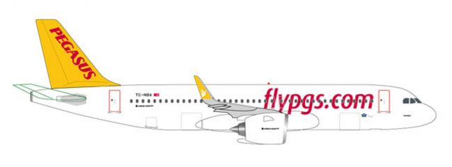 herpa 531788 Airbus A320neo Pegasus Airlines Flugzeugmodell 1:500