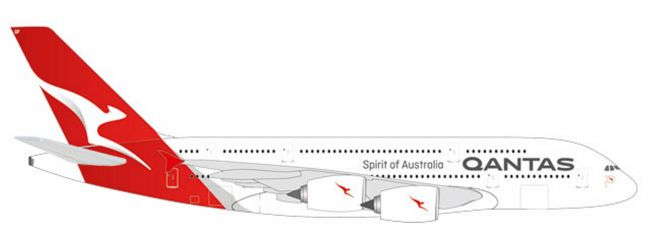 herpa 531795 Airbus A380 Qantas new colors Flugzeugmodell 1:500
