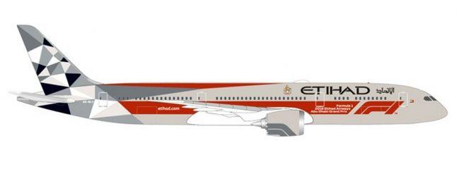 herpa 533263 Boeing 787-9 Dreamliner Etihad Airways Abu Dhabi Grand Prix Flugzeugmodell 1:500