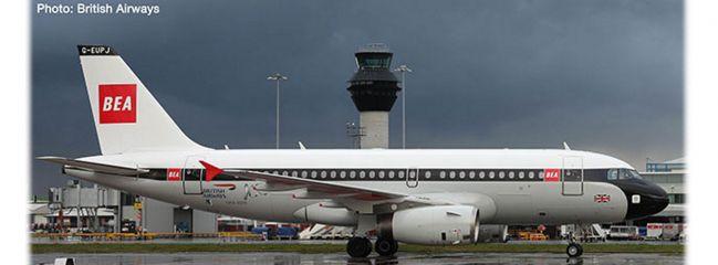 herpa 533492 Airbus A319 British Airways 100th BEA Design Flugzeugmodell 1:500