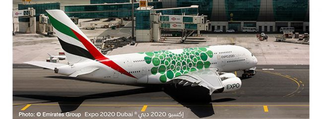 herpa 533522 Airbus A380 Emirates Expo 2020 Dubai Sustainability livery Flugzeugmodell 1:500
