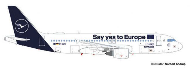 herpa 559997 Airbus A320 Lufthansa Say yes to Europe Flugzeugmodell 1:200