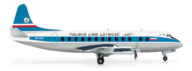 herpa 554657 Vickers Viscount 800 LOT Polish Airlines Flugzeugmodell 1:200