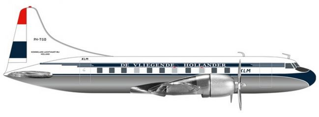 herpa 559393 Convair CV-340 KLM Flugzeugmodell 1:200