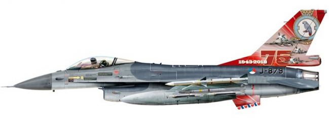 herpa 580403 Lockheed Martin F-16A Royal Netherlands Air Force 322 Sqd 75 Year Modell 1:72