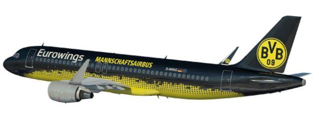 herpa 611602 A320 Eurowings BVB Mannschaftsairbus | Snap-Fit WINGS 1:100