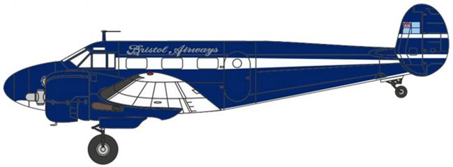 herpa OXFORD 8172BE001 Twin Beech G-BKGM-Bristol Airways Flugzeugmodell 1:72