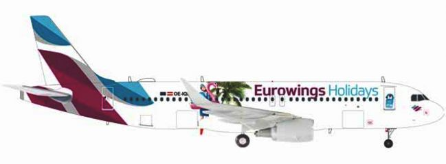 herpa WINGS 559157 Airbus A320 Eurowings Europe Holidays Flugzeugmodell 1:200