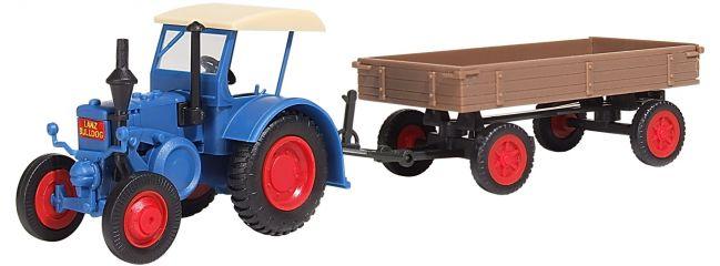 kibri 12232 LANZ Traktor mit Gummiradwagen Bausatz Spur H0