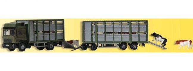 Kibri 12248 Viehtransporter mit Anhänger | LKW-Modell 1:87 | Spur H0