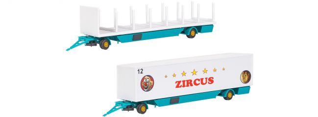 kibri 14658 Zircus Zeltstangen- und Kofferanhänger Bausatz Spur H0