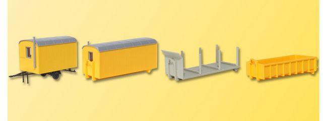 kibri 15700 Baustellengeräte (3 Absetzbehälter + 1 Anhänger) Bausatz Spur H0