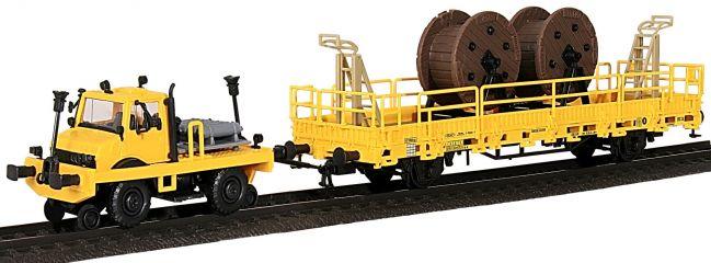 kibri 16062 Zweiwege UNIMOG mit Fahrleitungsbauwagen Bausatz Spur H0