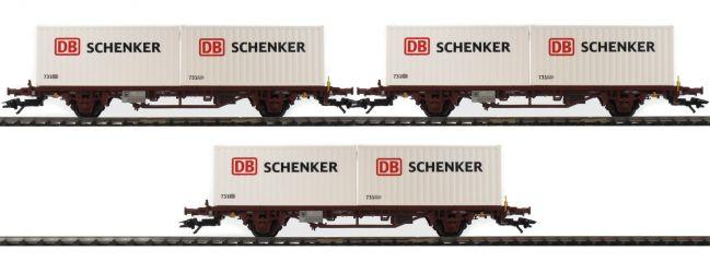 märklin 47725 Container-Tragwagen-Set 3-tlg. Lgs DB Schenker NSB   Spur H0