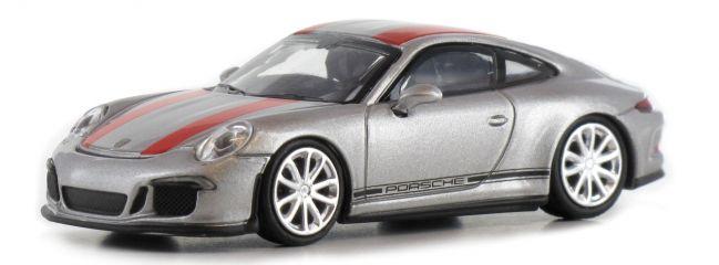 MINICHAMPS 870066221 Porsche 911 R 2016 silber mit roten Streifen Automodell 1:87