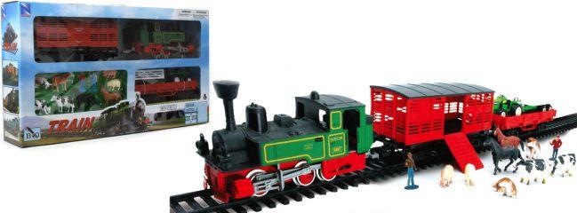 NewRay 08605 Startpackung mit Traktor und Tieren | Batteriebetrieb | Spielzeug-Zug 1:32
