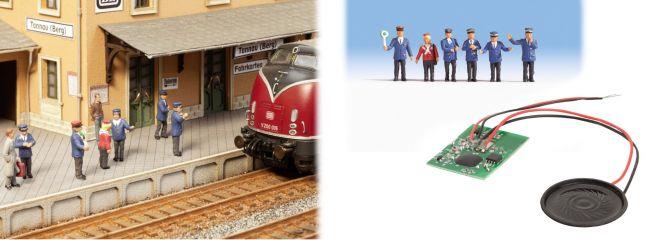 NOCH 12800 Sound-Szene Auf dem Bahnsteig Figuren und Lautsprecher Spur H0