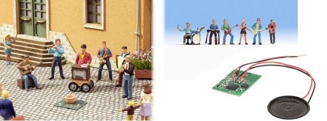 NOCH 12820 Sound-Szene Straßenmusiker mit Figuren und Lautsprecher Spur H0