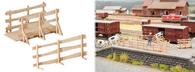 NOCH 14247 LaserCut minis Viehverladebrücken mit Gattern 2 Stück Bausatz Spur H0