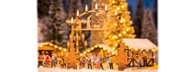 NOCH 14391 Weihnachtsmarkt Eingangsbogen aus Echtholz LaserCut minis Bausatz 1:87