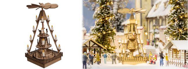 NOCH 14395 Weihnachtsmarkt-Pyramide aus Echtholz Bausatz 1:87