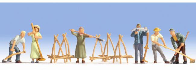 NOCH 15619 Heuernte + Zubehör | 6 Miniaturfiguren | Spur H0