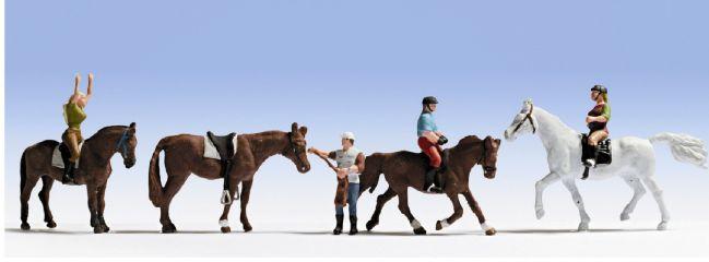 NOCH 15630 Reiter mit Pferd | 4 Miniaturfiguren | Spur H0