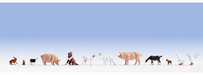 NOCH 15711 Tiere auf dem Bauernhof 12 Figuren Spur H0