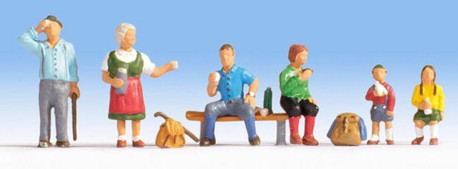 NOCH 15872 Wanderer   6 Miniaturfiguren Spur H0