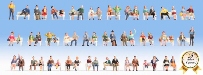 NOCH 16071 Mega Spar-Set Sitzende Personen ohne Bänke | 60 Stück | Figuren Spur H0