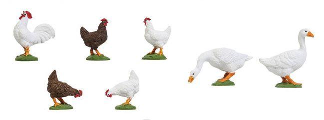 POLA 331896 Hühner und Gänse | 7 Stück Miniaturfiguren Spur G